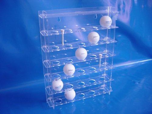 Golf-Ball Vitrine aus Acrylglas für 30 Golfbälle SL014 Rückwand Spiegel