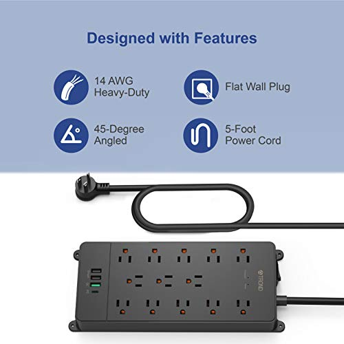 TROND USB C Power Strip Surge Protector, 13AC Widely-Spaced Outlets Expansion with 4 USB Ports, 18W Quick Charge 3.0 & USB C Power Delivery, 4000 Joules, Flat Plug, 5ft Long Extension Cord, Wall Mount 8