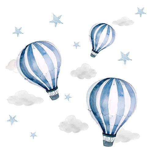 Little Deco Aufkleber Junge Heißluftballons I Wandbild 68 x 34 cm (BxH) I Wolken Sterne Kinderzimmer Jungen Wandtattoo Kinder Babyzimmer Jungs Bilder DL540