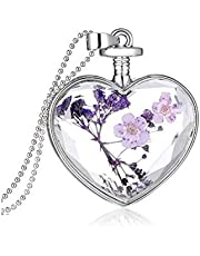 Flowers love crystal plant dry flower necklace Valentine's day gifts of jewelry-ee