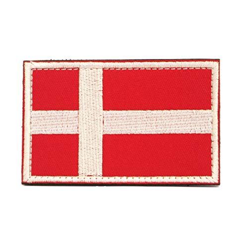 Cobra Tactical Solutions Bandera Danesa Bandera de Dinamarca Parche Bordado Táctico Militar Cinta de Gancho y Lazo de Airsoft Cosplay Para Ropa de Mochila Táctica
