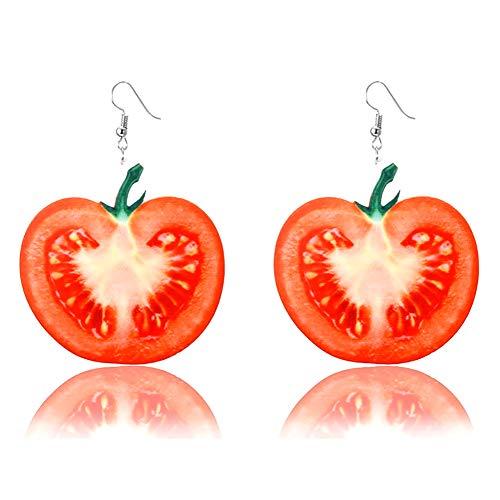Haodou.Exaggerated Cut Fruit Series Hook Earrings Novelty Earrings Japan and South Korea Style Women Pendant Earrings Tomato