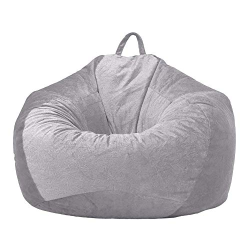 Classic Bean Bag Chair Sofa Cover without Fillings, Short Velvet Fabric Soft and Comfortable Cozy Storage Chair Sofa Slipcover with Handles for Adults and Kids (Light-grey, 90 x 110 cm)