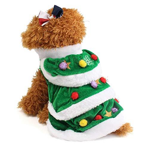 Haplws Ropa de árbol de Navidad para Mascotas Ropa de Invierno para Perros Árbol de Navidad para Mascotas Mascota Gato Abrigo de Perro Disfraces de Perros Lindos y cálidos