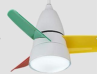 Bweele Lámpara de ventilador de techo lámpara de ventilador pequeña dormitorio para niños comedor moderno moderno araña de techo de ventilador-Little Dragonfly White + Tricolor Fan Leaf