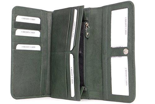 Catwalk Collection Handbags - Dames Luxe Matinee Portmonnee met Geschenk Doos - Kwaliteit Echt Leer met RFID Protectie Beschikbaar - Credit Card met munten vakje met rits - GEMMA