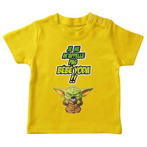 Okiwoki T-shirt bébé Jaune parodie Star Wars - Grogu, Bébé Yoda et Baby Yoda - Un cri du coeur et avec force ! (T-shirt de qualité premium de taille 18 mois - imprimé en France)