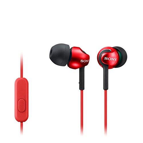 Sony MDREX110APR - Auriculares in-ear (con micrófono y control de volúmen y reproducción incorporado) color rojo