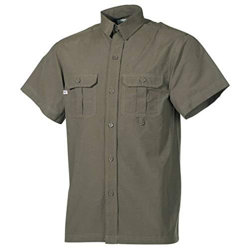 Outdoor Hemd, kurzarm, oliv, Microfaser, 2 Brusttaschen, Größe XL