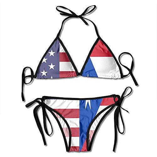 Badeanzug,Bikini Set,Badeanzüge,Damen Badeanzug,Bademode,Schwimmanzug,Zweiteilige Bikini,Puerto Rico Fahnendruck Bikini Set Fashion Sexy Women 'S Einstellbare Badeanzüge