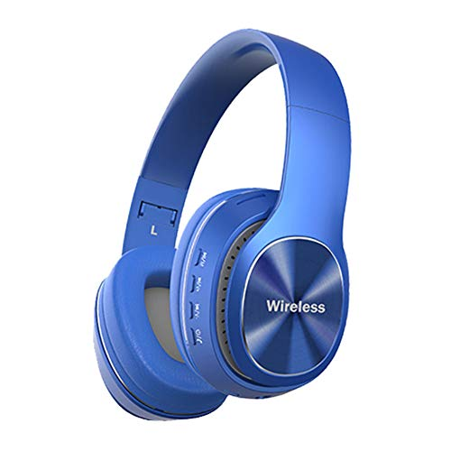 Wsaman Wireless Headphones Over Ear, Wireless Bluetooth Headset with Deep Bass Earphones Foldable with Mic and Volume Control Noise Cancellation for Airpods/Android/Gaming/PC Earbuds,Blue