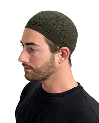 Elastic Kufi Hat Skull Cap Beanies with Wavy Threading in Multiple Designs and Colors (Forest Green)