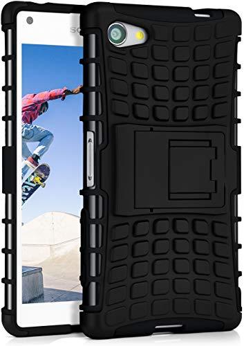 ONEFLOW Tank Case kompatibel mit Sony Xperia Z5 Compact - Hülle Outdoor stoßfest, Handyhülle mit Ständer, Handy Hardcase Panzerhülle, Schwarz