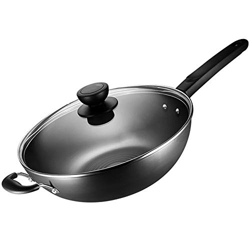Rghfn 13.5in Fine Iron nietroestend Wok Met Deksel Safe Kitchen Multi-function Pan, Afgeronde Pot Special Koken Pot for Gasfornuis Open Fire (34 * 10cm)