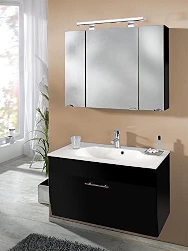 EINFACH GUTE MÖBEL Mueble de baño Salona de 2 piezas | lavabo de 90 cm + armario con espejo LED | antracita brillante