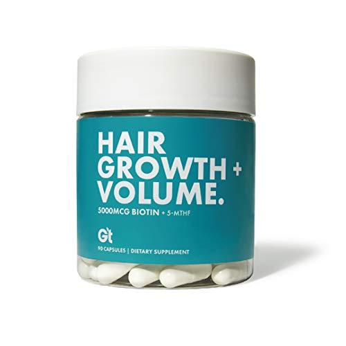hair growths Genesis Today - Hair Growth & Volume – High Potency 5,000 mcg Biotin Folate Healthy Hair Vitamin – 90 Capsules