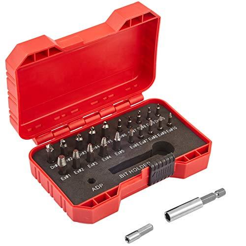 RiverPool Schraubenausdreher-Set, 22 Stücke (1#-10#) 10 Größe Schrauben Entfernen Schraubenentferner Set mit 2 Größe des Bohrerhalters ,Arbeitsbereich 2mm-12mm Härte 64-65HRC,