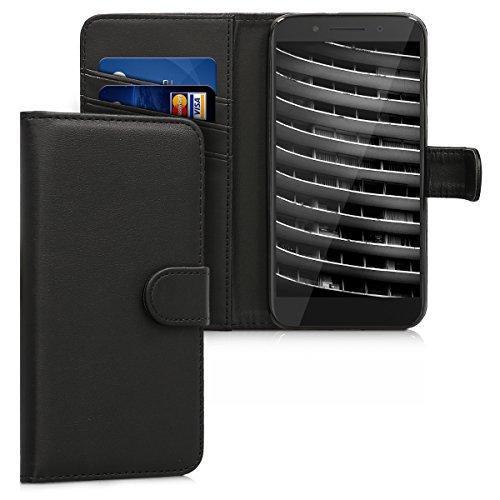 kwmobile Wallet Hülle kompatibel mit Alcatel Idol 5 - Hülle Kunstleder mit Kartenfächern Stand in Schwarz