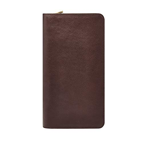 Fossil Leather Passport Case, Multi Zip Passport - Dark Brown