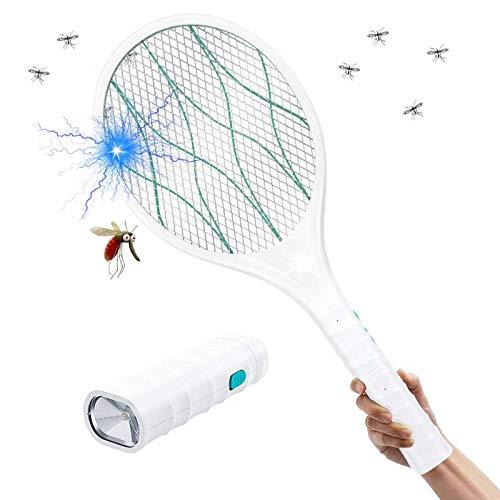 Homealexa Elektrische Fliegenklatsche Moskito Zapper/Insekten Mörder mit LED-Beleuchtung und Abnehmbaren Taschenlampe - USB wiederaufladbar - Doppelte Schichten Mesh Schutz
