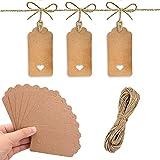 AMIGOGO 100 etiquetas de regalo de papel kraft marrón con corazón Hollow Craft Hanging etiquetas con 20 m de cuerda de yute para regalos de boda