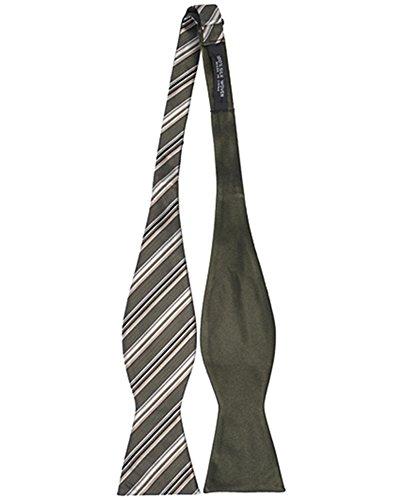 Umo Lorenzo Woven Silk Thin Striped Reversible Bow Tie