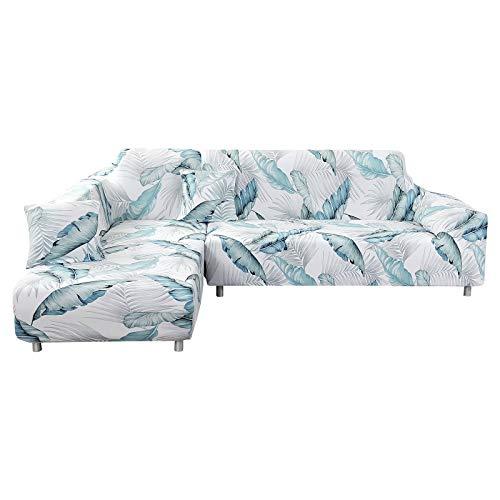 IVYSHION Fundas de Sofá Chaise Longues Elásticas,Cubre Sofá Chaise Longues Universal Antideslizante,Fácil de Instalar y Lavables, Fundas para Sofá en Forma de L 2 Piezas Azul Claro,1 Plaza+3 Plazas