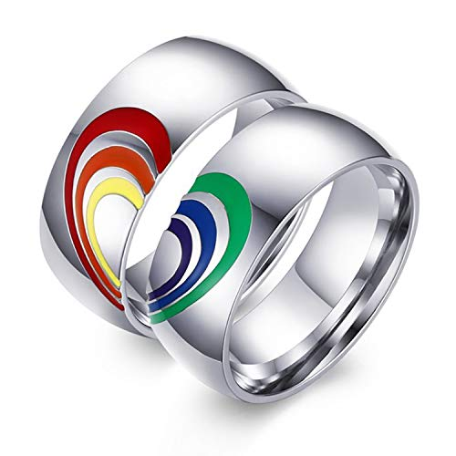 Aeici 8MM LGBT Pride Flag Couple Rings for Gay Lesbian Rainbow Matching Heart Wedding Bands Red 7 Blue 9