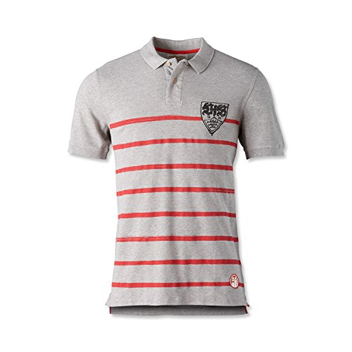 VfB Stuttgart Fairplay Polo Stripes Polo Shirt grau mit WAPPENDRUCK Hingucker (S)