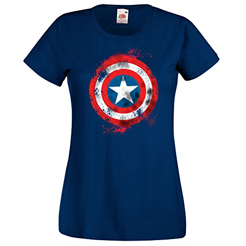 TRVPPY Damen T-Shirt Modell Captain America Brushed Farbe Navy Größe M