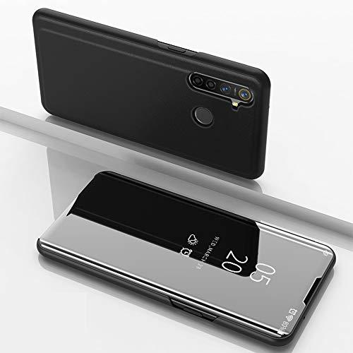 SHIEID Hülle Oppo Realme 5 Pro Schutzhülle Smart Spiegelüberzug Sleep Flip Leder Case Streamer Spiegel Schutzhülle Handyhülle für Oppo Realme 5 Pro(Schwarz)