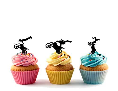 12 x MotoCross Silhouette Trio Mix Acrylic Cupcake Toppers Decor 12 pcs