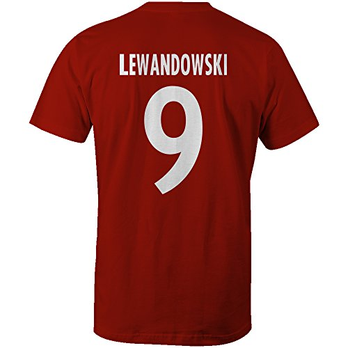 Robert Lewandowski 9 Club Player Style T-Shirt Red/White, Small