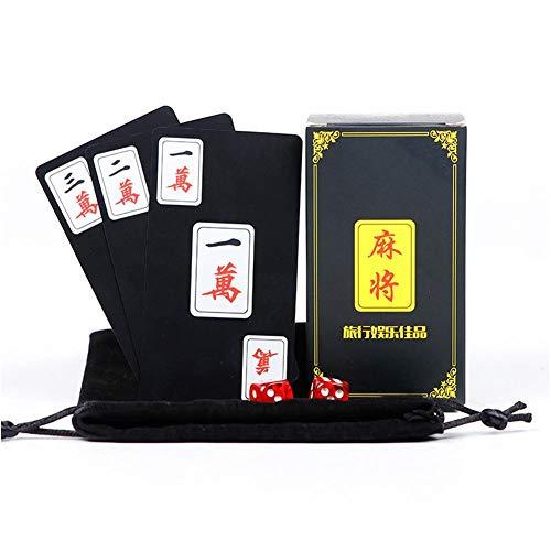 Letway 144 STÜCKE Mahjong Brettspiel Karten kartenspiel Chinesischer Mahjong Wasserdichtes Reisen aus Kunststoff Game Pokers Set Zubehör für den Innen- und Außenbereich Custody