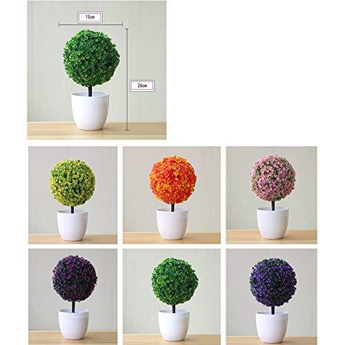 Fansi Unechte Grüne Topfpflanze Künstliche Deko Blume Kunststoff TopfPflanzen Kreativer Miniball vergossen Draussen Balkon Topf Hochzeit Garten Dekoration - 7
