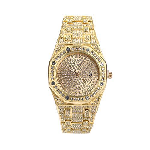 Modow Reloj Bling para Hombre con Pavé Rapé Simulado en Strass Austriaco, Oro/Oro Rosa/Plata,Gold