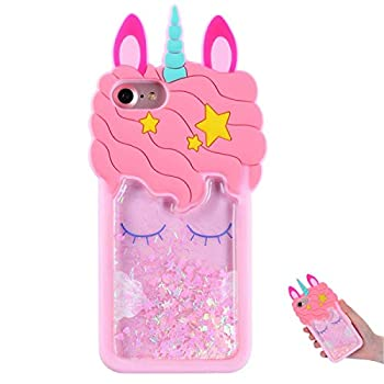 TopSZ Quicksand Unicorn Bling Case for iPhone 5S 5C 5,Cute Silicone 3D Cartoon Cool Kawaii Animal Cover,Shockproof Soft c Skin,Funny Unique Character Cases for Kids Girls Teens Guys  iPhone5