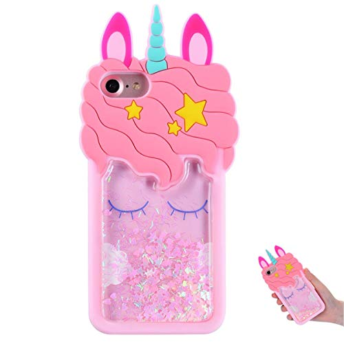 TopSZ Quicksand Unicorn Bling Case for iPhone 5S 5C 5,Cute Silicone 3D Cartoon Cool Kawaii Animal Cover,Shockproof Soft c Skin,Funny Unique Character Cases for Kids Girls Teens Guys (iPhone5)