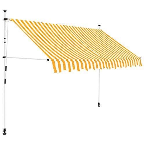 Festnight Toldo Manual Retráctil Toldos para Jardin Toldo Exterior Toldo Terraza Altura Ajustable 250 cm Amarillo y Blanco a Rayas