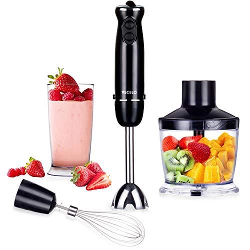 VECELO 800W Premium 4-In-1 Immersion Hand Blender Set with Food Processor Chopper Egg Whisk 500ml Beaker 6 Variable Speeds - Black