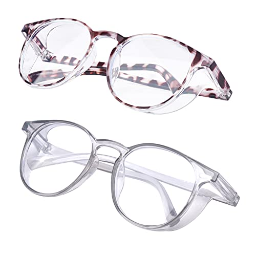 2 Pack Protective Eyewear Safety Goggles Clear Anti-fog/Anti-Scratch Safety Glasses Men Glasses