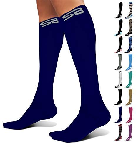 SB SOX Compression Socks (20-30mmHg) for Men & Women - Best Stockings for Running, Medical, Athletic, Edema, Diabetic, Varicose Veins, Travel, Pregnancy, Shin Splints (Solid - Navy, Medium)