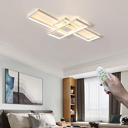 Moderno Dimmerabile LED Plafoniera Rettangolo Lampada da soggiorno 95W con telecomando Metallo Lampada da soffitto Acrilico Paralume per Sala da pranzo Ufficio Cucina Illuminazione (Color : Bianca)
