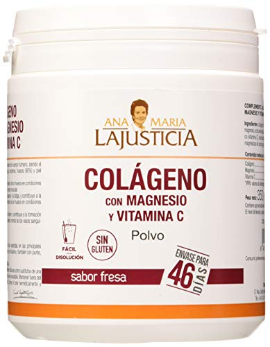 Ana Maria Lajusticia - Colágeno con magnesio y vit c – 350 gramos (sabor fresa) articulaciones fuertes y piel tersa. Regenerador de tejidos con colageno hidrolizado tipo 1 y 2. Envase para 46 días.