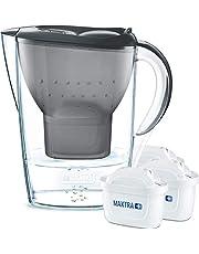 Brita Marella waterfilter, blauw, incl. 3 Maxtra+ filterpatronen – Brita filter, starterpakket voor het verminderen van kalk, chloor en smaakverstorende stoffen in het water