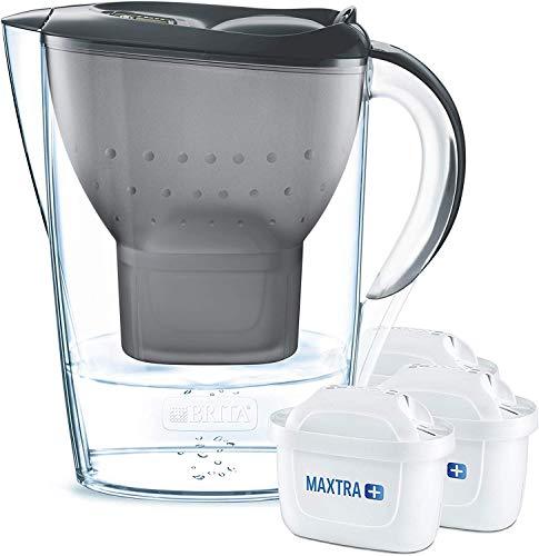 BRITA 1030084 Wasserfilter Marella graphit inkl. 3 MAXTRA+ Filterkartuschen – BRITA Filter Starterpaket zur Reduzierung von Kalk, Chlor, Blei, Kupfer & geschmacksstörenden Stoffen im Wasser