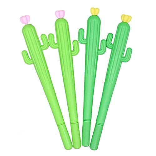 Tuimiyisou Cactus Gel bolígrafos Linda Rollerball Plumas Oficina de la Escuela papelería para Regalo 4PCS Herramientas para el hogar