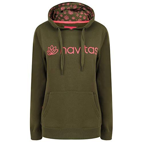 Navitas Angel Pullover Hoodie Damen mit Kapuze Core Grün - Kapuzenpullover mit Fronttasche Frauen, Größe:L