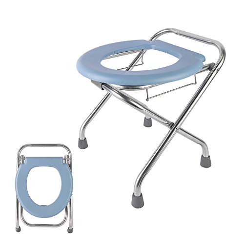 YUDA [Enlarged Version Portable Camping Toilet, Commode Camp Folding Toilet Seat, Stainless Porta Potty, Travel Potty Perfect for Camping,Fishing, Hiking, Outdoor Living(CM01)