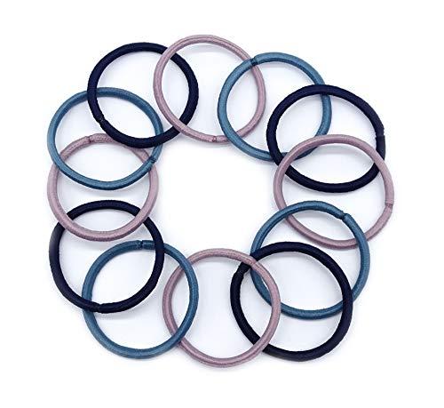 Irresistible1 Lot de 12 élastiques à cheveux fins sans accroc 4 mm d'épaisseur Rose, bleu marine et bleu